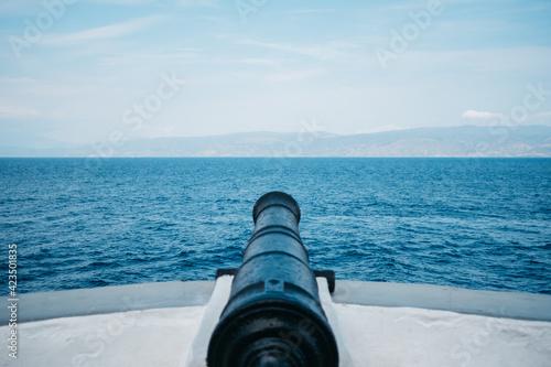 Canvas cannon at the sea