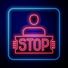 Glowing Neon Stop War Icon Isolated On Blue Background. Antiwar Protest. World Peace Concept. Vector