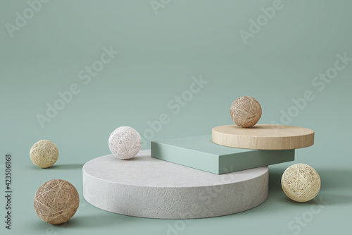 Obraz Geometric pastel color background, design for cosmetic or product display podium - fototapety do salonu