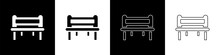 Set Romantic Bench Icon Isolated On Black And White Background. Vector