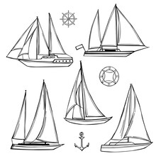 Hand Drawn Yachts Set. Vector Sketch  Illustration.