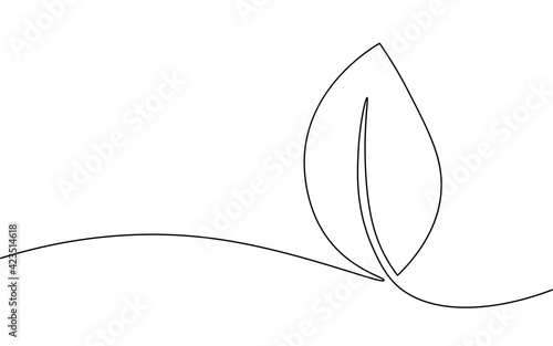 Fototapeta Single continuous line art growing sprout. Plant leaves seed grow soil seedling eco natural farm concept design one sketch outline drawing vector illustration obraz