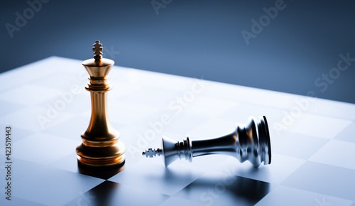 Fotografie, Obraz Chess game win and lose