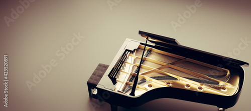 Leinwand Poster Classic grand piano view from the top