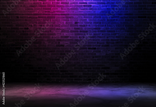 Obraz Black brick wall background rough concrete with neon lights and glowing lights. Lighting effect pink and blue on empty brick wall background - fototapety do salonu