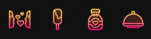 Set Line Chocolate Candy, Love First Sight, Ice Cream And Covered With Tray. Glowing Neon Icon. Vector