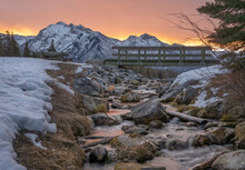 Sunrise On Mountain Creek At Johnson Lake In Banff National Park, Alberta, Canada