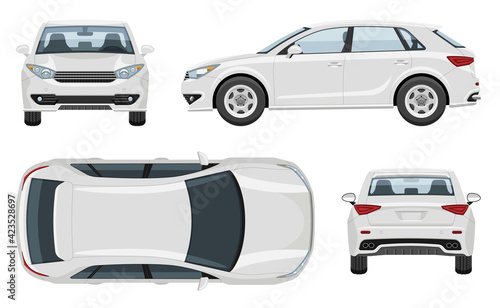SUV car vector template with simple colors without gradients and effects. View from side, front, back, and top