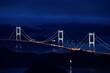 亀老山から見た来島海峡大橋のライトアップ 愛媛県今治市大島