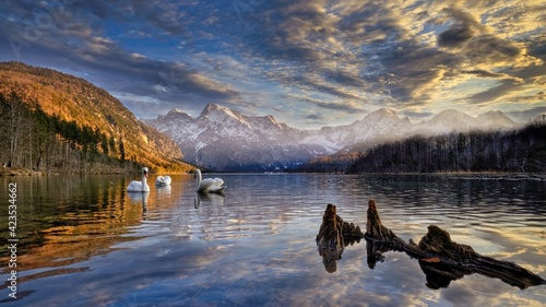 Fotografija lake lakeside shore water landscape mountain river mountains forest reflection s
