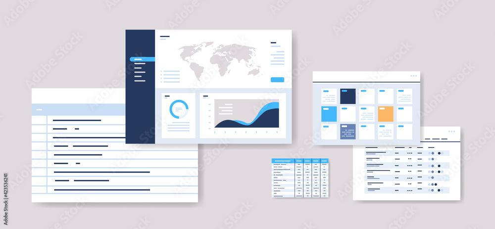 Fototapeta set planning schedules infographic dashboard templates online planner organization time management