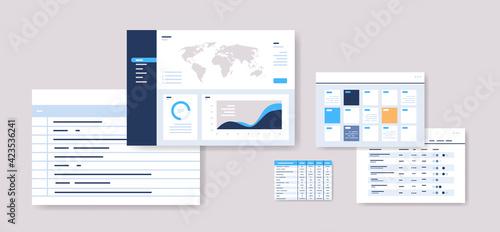 Obraz set planning schedules infographic dashboard templates online planner organization time management - fototapety do salonu