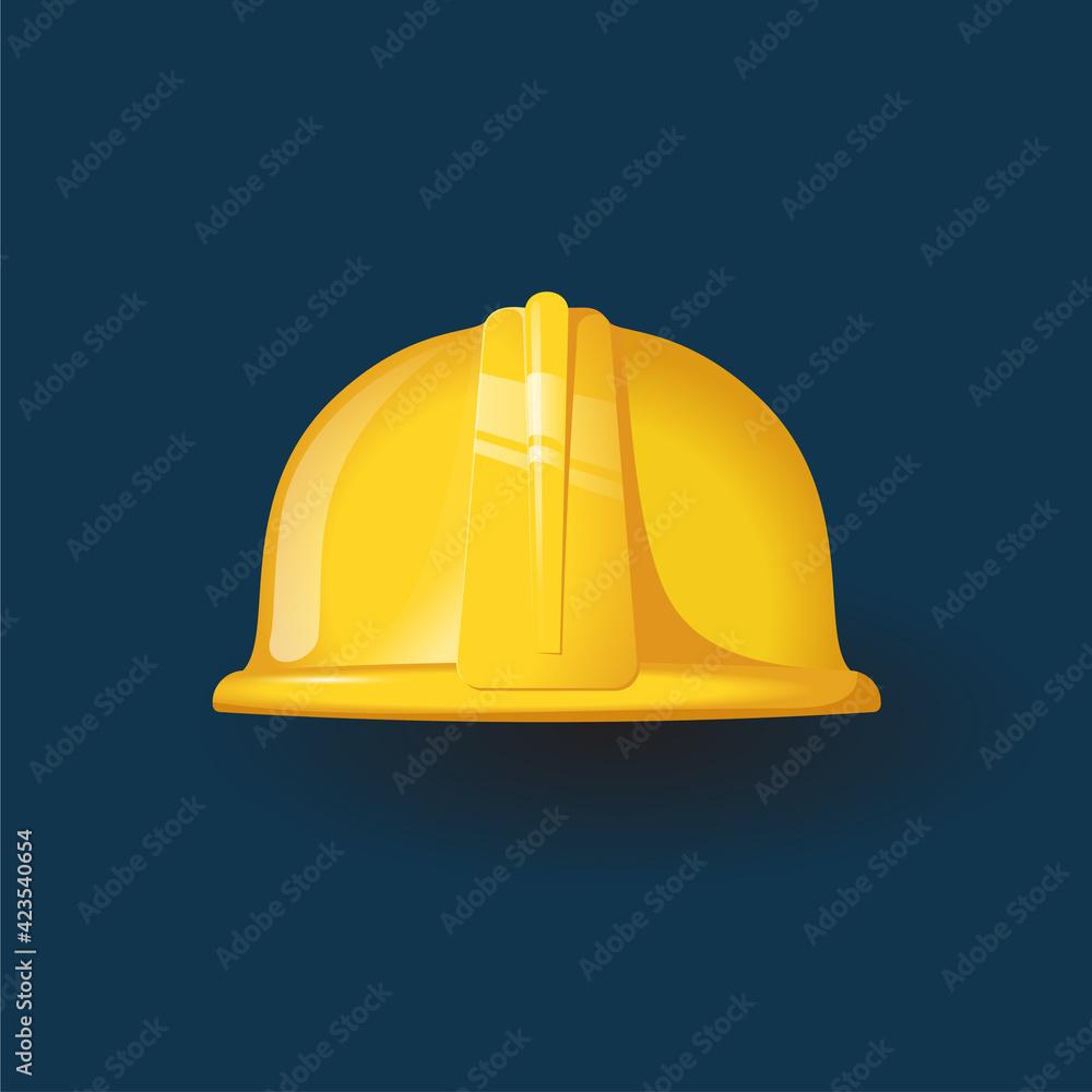 Fototapeta Yellow worker helmet icon Flat style
