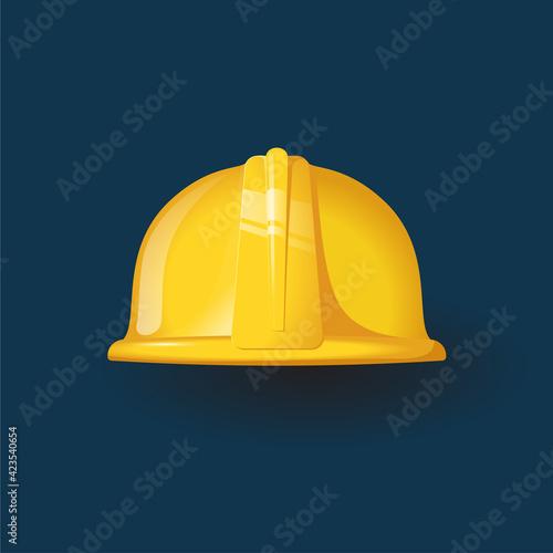 Obraz Yellow worker helmet icon Flat style - fototapety do salonu