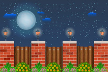 Wooden Fence With Plant At Night Time.Night Landscape With Starry Sky, Full Moon, Fence, Street Lanterns And Bushes With Green Foliage And Flowers.Wood Fence With Pillars Of Bricks.Vector Illustration