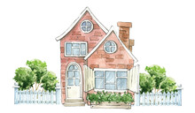 Watercolor Houses, Wooden Fence, Lawn, Bushes. Country House