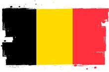 Flag Of Belgium, Banner With Grunge Brush