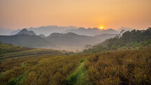 Golden Sunrise At Pu Luong Village, A Famous Tourist Attraction In Thanh Hoa, Vietnam