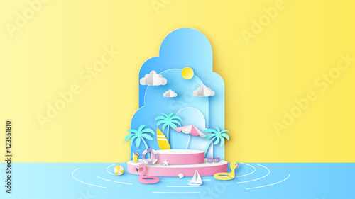 Obraz Circle stage podium for Summer decorated with beach equipment and blank space. Summer sea mockup template. paper cut and craft style. vector, illustration. - fototapety do salonu