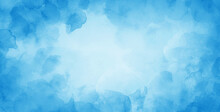 Blue Watercolor Background With Abstract Sky Border Design, Painted Pastel Blue Blotches And Blobs In Abstract Cloudscape Illustration