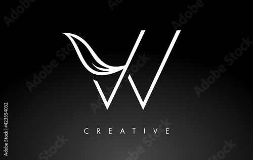 Tela W Letter Logo with Monogram Leaf Concept in Black and White Colors
