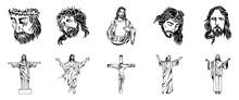 Vector Illustration Of Jesus Christ, God And Bible