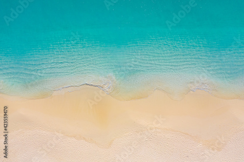 Top view aerial photo from drone of stunning beautiful sea landscape beach with turquoise water with copy space for your text. Beautiful sand beach with turquoise water. Relax nature, amazing beach