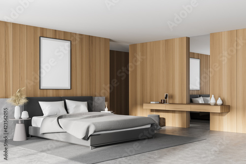 Fotografie, Tablou Wooden bedroom interior with bed and dressing table, mockup poster