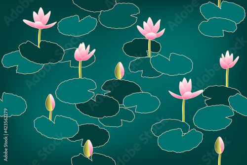 Fotografie, Obraz pond with water lilies, seamless pattern