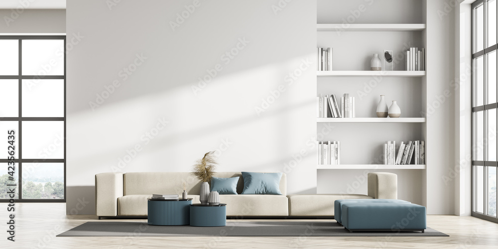 Fototapeta Contemporary living room interior with white wall and panoramic window