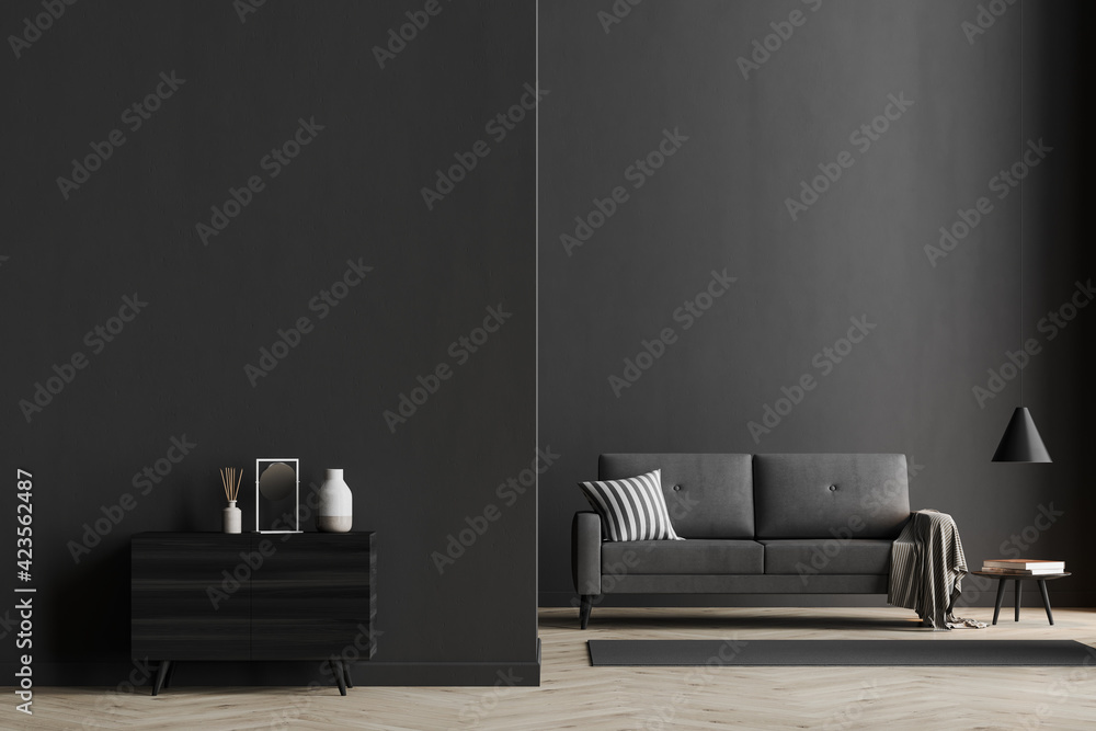 Fototapeta Dark living room interior with black empty wall