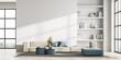 Leinwandbild Motiv Contemporary living room interior with white wall and panoramic window