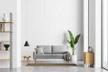 Bright Living Room Interior With White Empty Wall