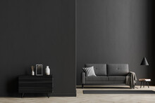 Dark Living Room Interior With Black Empty Wall