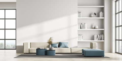 Contemporary living room interior with white wall and panoramic window