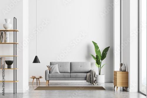 Fototapeta Bright living room interior with white empty wall obraz