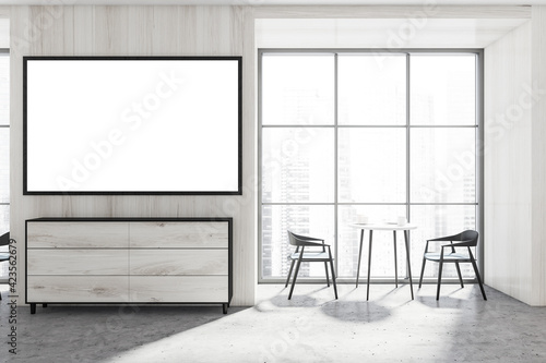 Fototapeta Light cafe interior with two seats and table near window, mockup poster obraz