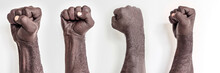 Male Hands Clenched Into A Fist On A White Background. A Symbol Of The Struggle For The Rights Of Blacks In America. Protest Against Racism.Banner