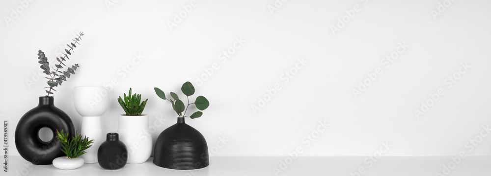 Fototapeta Modern black and white home decor and plants on a shelf. White shelf against a white wall. Banner with copy space.
