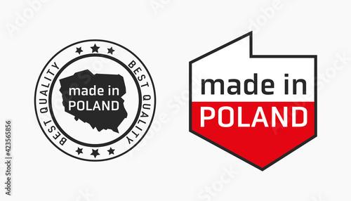 Fototapeta mapa Polski flaga wyprodukowano w polsce PRODUKT POLSKI made in poland znak ikona symbol na opakowania obraz