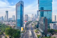 Quiet Jakarta Downtown With Empty Highway