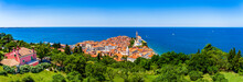 Panoramic Skyline View Of Piran Vacation Destination On The Slovenian Mediteranean Sea Riviera In Piran, Slovenia