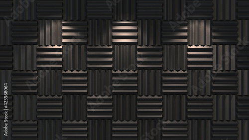 Fotografie, Obraz Acoustic foam background illuminated. 3d illustration