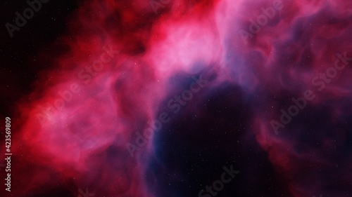 Fototapeta colorful space background with stars, nebula gas cloud in deep outer space 3d render obraz