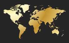 Golden World Map Premium Business Background Of Global Wealth And Values