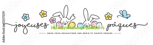 Obraz Happy Easter we wish you a holy and blessed Easter on French language handwritten art line design of cute smiling Easter bunny and eggs in grass on white background great for cards, banner, textiles - fototapety do salonu