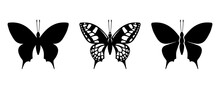 Vector Set Of Black Silhouettes Of Swallowtail Butterflies Isolated On A White Background.