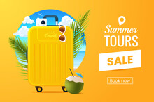 Summer Vacation Vector Illustration. Composition With Travel Suitcase On The Background Of The Beach And Palm Leafs. Sale Tours Promo Banner Design. Traveling Poster Concept. 3d Style.