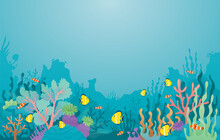 Underwater, Coral Reef, Sea Anemone And Fish Background