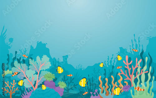 Fototapeta Underwater, Coral Reef, Sea Anemone and Fish Background